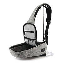 Рюкзак Bobby однолямочный через плечо с USB зарядным и портом для наушников серый (13928), фото 6