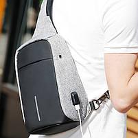 Рюкзак Bobby однолямочный через плечо с USB зарядным и портом для наушников серый (13928), фото 8