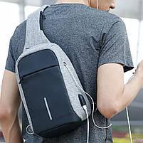 Рюкзак Bobby однолямочный через плечо с USB зарядным и портом для наушников серый (13928), фото 9