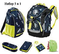 Каркасный школьный рюкзак 5 в 1 (рюкзак, спортивный рюкзак, 2 пенала, кошелек) Top Move Dark Blue