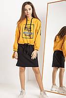 Модное платье и свитшот для девочки 140 - 164 Детское подростковое стильное платье с худи батником