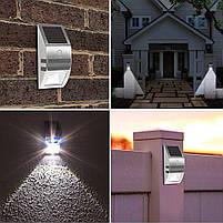 Светильник металлический TIENDA с датчиком движения и солнечной панелью (настенный уличный) Silver, фото 8