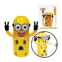 Дозатор зубной пасты МИНЬОН детский автоматический диспенсер желтый держатель для зубных щеток