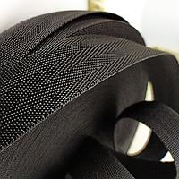 Тесьма черная ленточная ременная 30 мм 50 м конструкция елочка для сумок и рюкзаков. Турция.