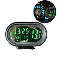 Часы автомобильные VST-7009V с индикацией заряда АКБ (Вольтметр), и двумя термо датчиками (3803), фото 7