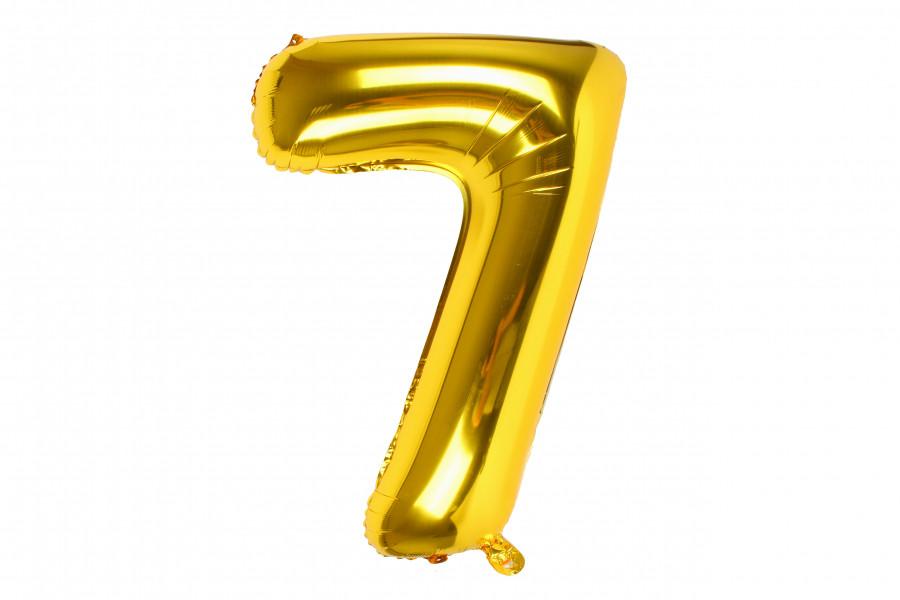 "Воздушный шар цифра ""7"" золото"