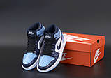 Кросівки жіночі Nike Air Jordan High OG Chill Blue в стилі найк джордан Сині (Репліка ААА+), фото 4