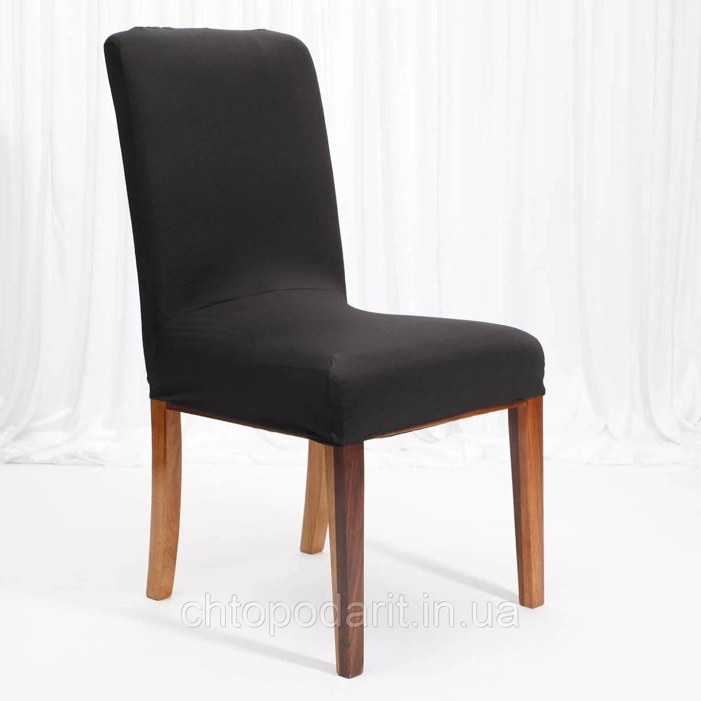 Чохол на стільці універсальний для меблів колір чорний Код 14-0720