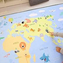 Утолщенный ковер мат Карта с животными ТМ-7, размер 200х150х1,5 см, фото 3