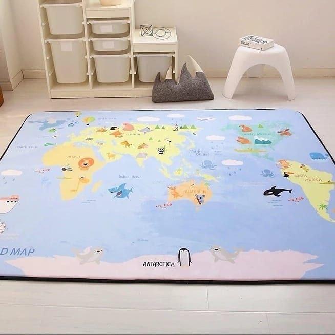 Утолщенный ковер мат Карта с животными ТМ-7, размер 200х150х1,5 см