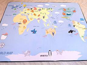 Утолщенный ковер мат Карта с животными ТМ-7, размер 200х150х1,5 см, фото 2