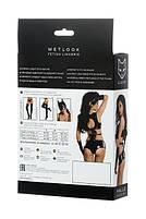 Комплект Glossy з матеріалу Wetlook (топ, міні-шорти і рукавички), чорний, фото 2