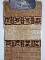 Набор ковриков с ворсом для ванной, бежевый (Турция) 60х100 и туалета 60х40см