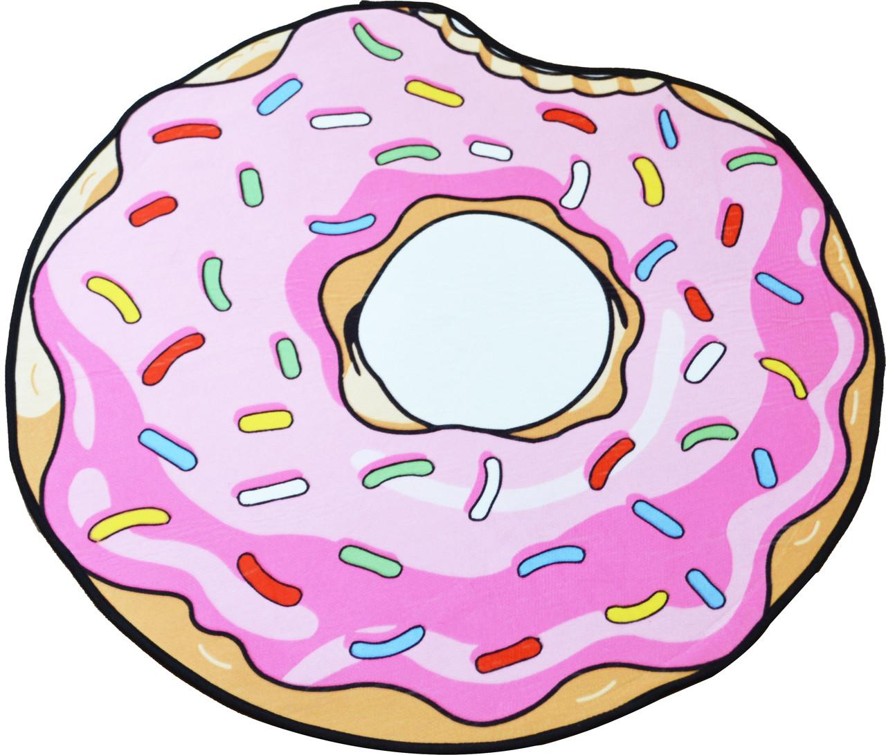 Коврик 3D круглый безворсовый с 3д принтом ковер для дома 80см Пончик (3066)