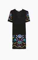Платье zara М чорного кольору з вишивкою