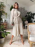 Женский костюм молоко юбка+свитер