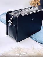 Черная сумка кроссбоди из эко-кожи с длинной ручкой, фото 1