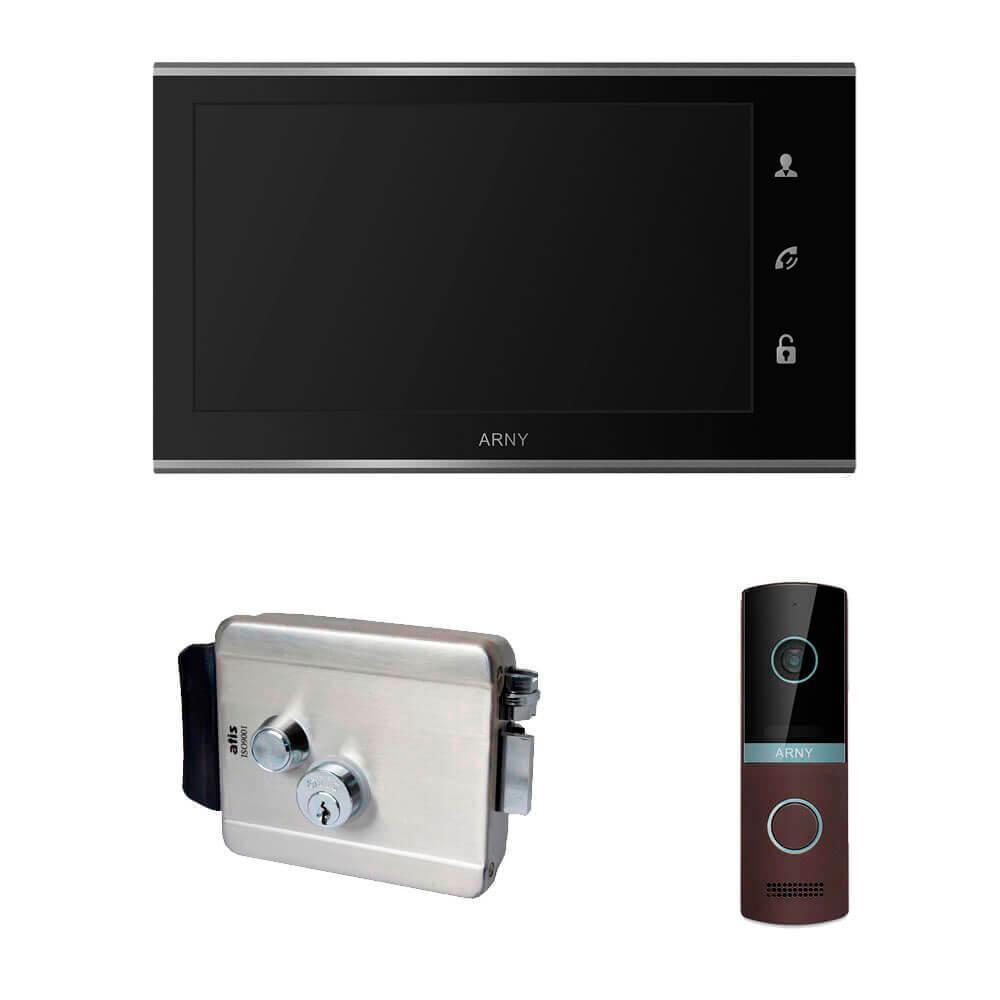 Комплект видеодомофона ARNY AVD-730 2MPX с видеопанелью AVP-NG230 2MPX и с электромеханическим замком ATIS Черный