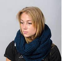 Вязанный стильный, красочный однотонный шарф-снуд из мягкой турецкой пряжи