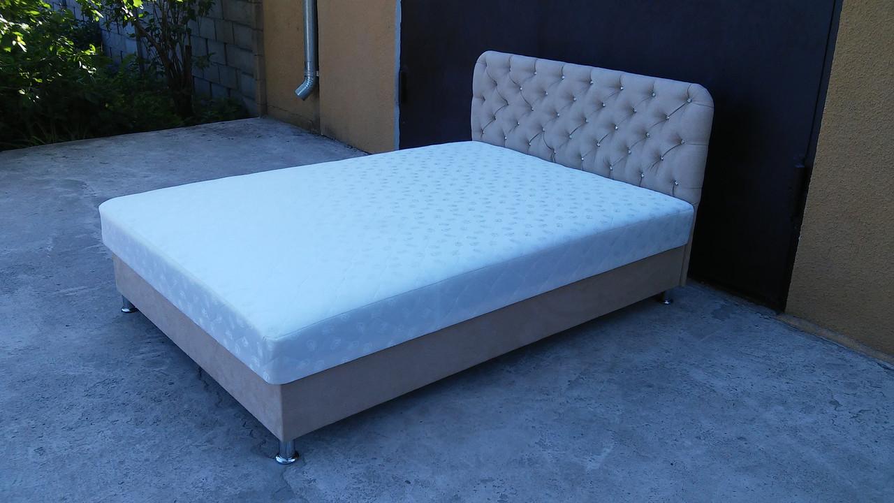 Ліжко Альбіна двоспальне 160х200, ортопедична, еко шкіра, тканина. високе узголів'я. Під замовлення