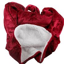 Двухсторонняя толстовка плед с рукавами - халат с капюшоном Huggle Hoodie Красный,Синий, фото 2