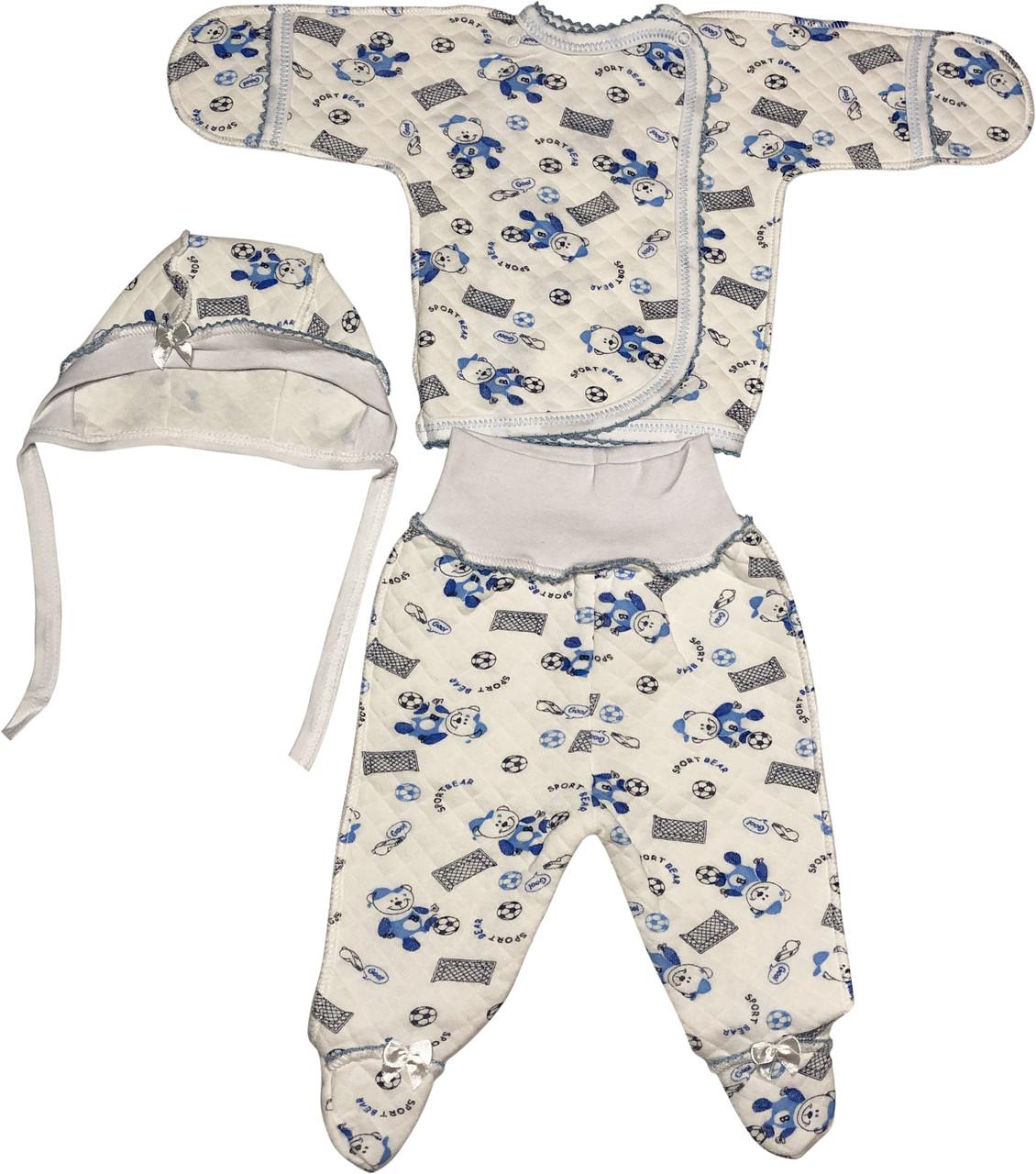 Детский костюм рост 56 0-2 мес трикотажный капитон молочный костюмчик на мальчика комплект для новорожденных малышей А316