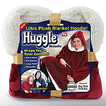 Двухсторонняя толстовка плед с рукавами - халат с капюшоном Huggle Hoodie Красный,Синий, фото 3