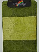 Набор ковриков с ворсом для ванной ''Banyolin'' зеленый  60х100 и туалета 60х40см.