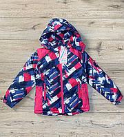 Теплая куртка на синтепоне из водоотталкивающей ткани. Внурти мех травка. Съемный капюшон. 8- 10 лет.