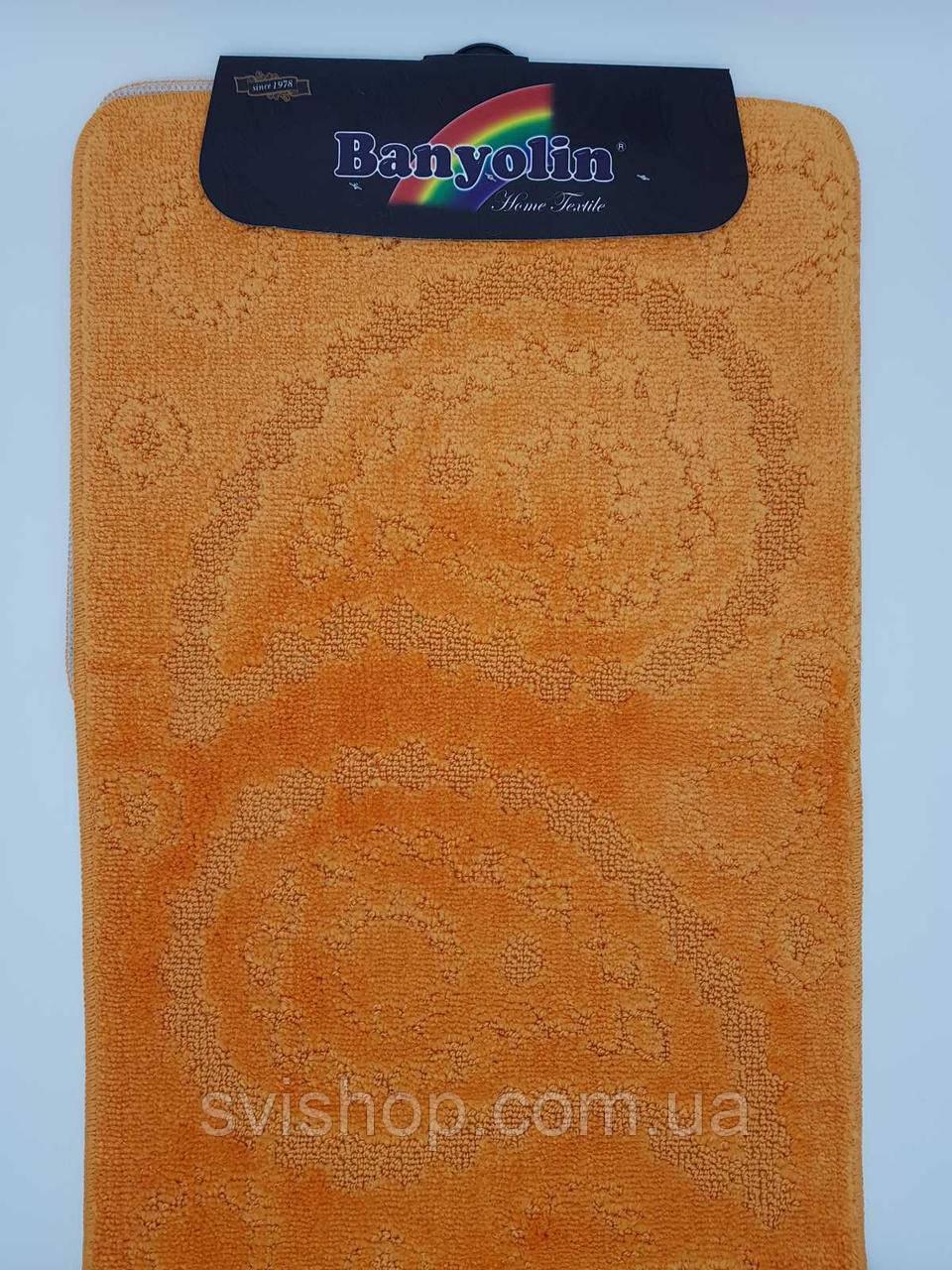 Набор ковриков с ворсом для ванной, оранжевый цвет (Турция) 60х100 и туалета 60х40см.