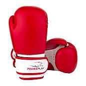 Боксерські рукавички PowerPlay 3004 JR Червоно-білі 6 унцій