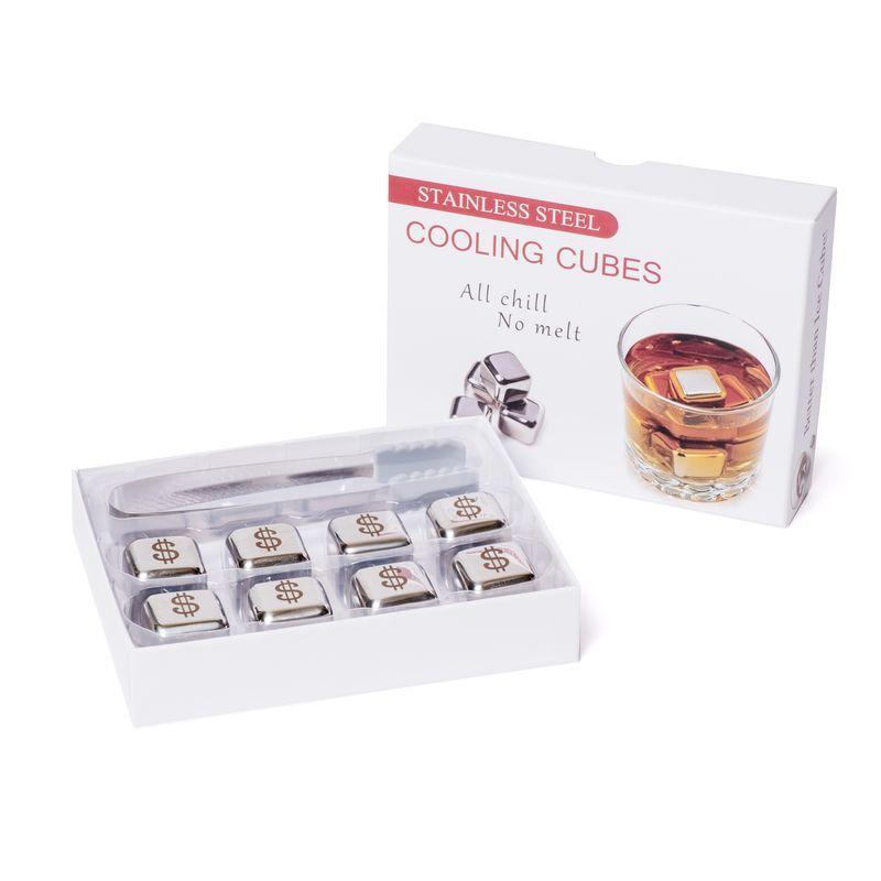 Набор кубиков для виски металлические 8 шт с пинцетом в подарочной коробке Decanto