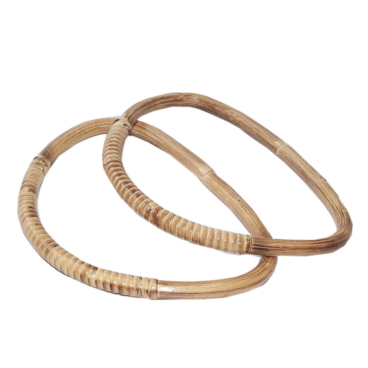 Комплект ручек для сумки натуральный Бамбук капля, Светлая охра 18,5х13,5 см