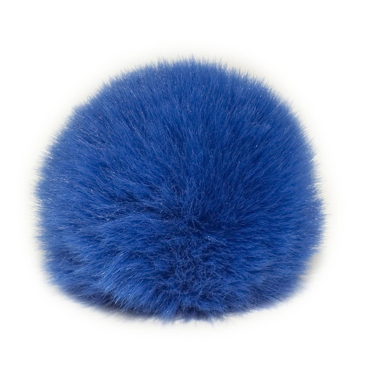 Помпон меховой 8 см, Синий электрик