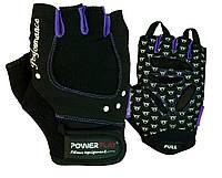 Рукавички для фітнесу PowerPlay 1751 жіночі Чорно-фіолетові M, фото 1