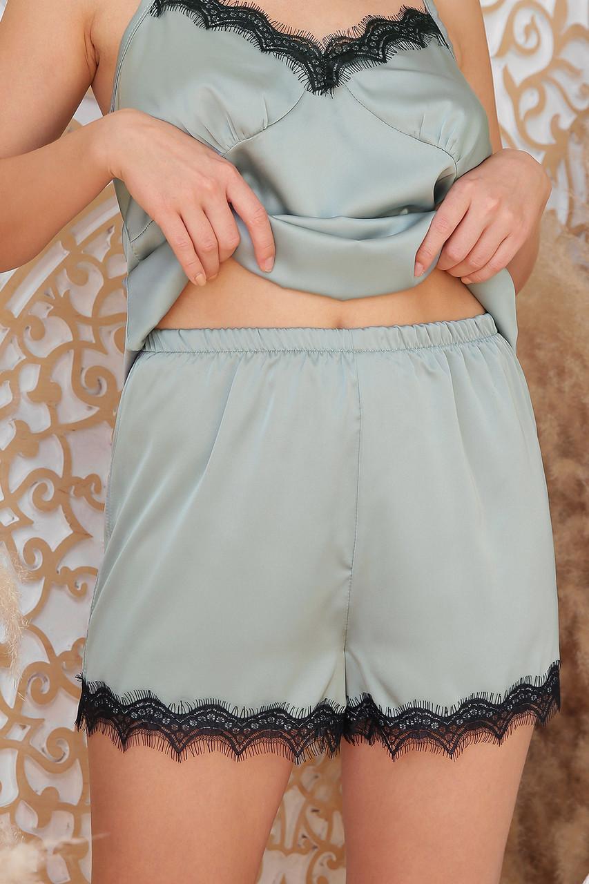 Женские шорты с кружевом для дома оливковые Шайлин