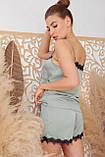 Женские шорты с кружевом для дома оливковые Шайлин, фото 5