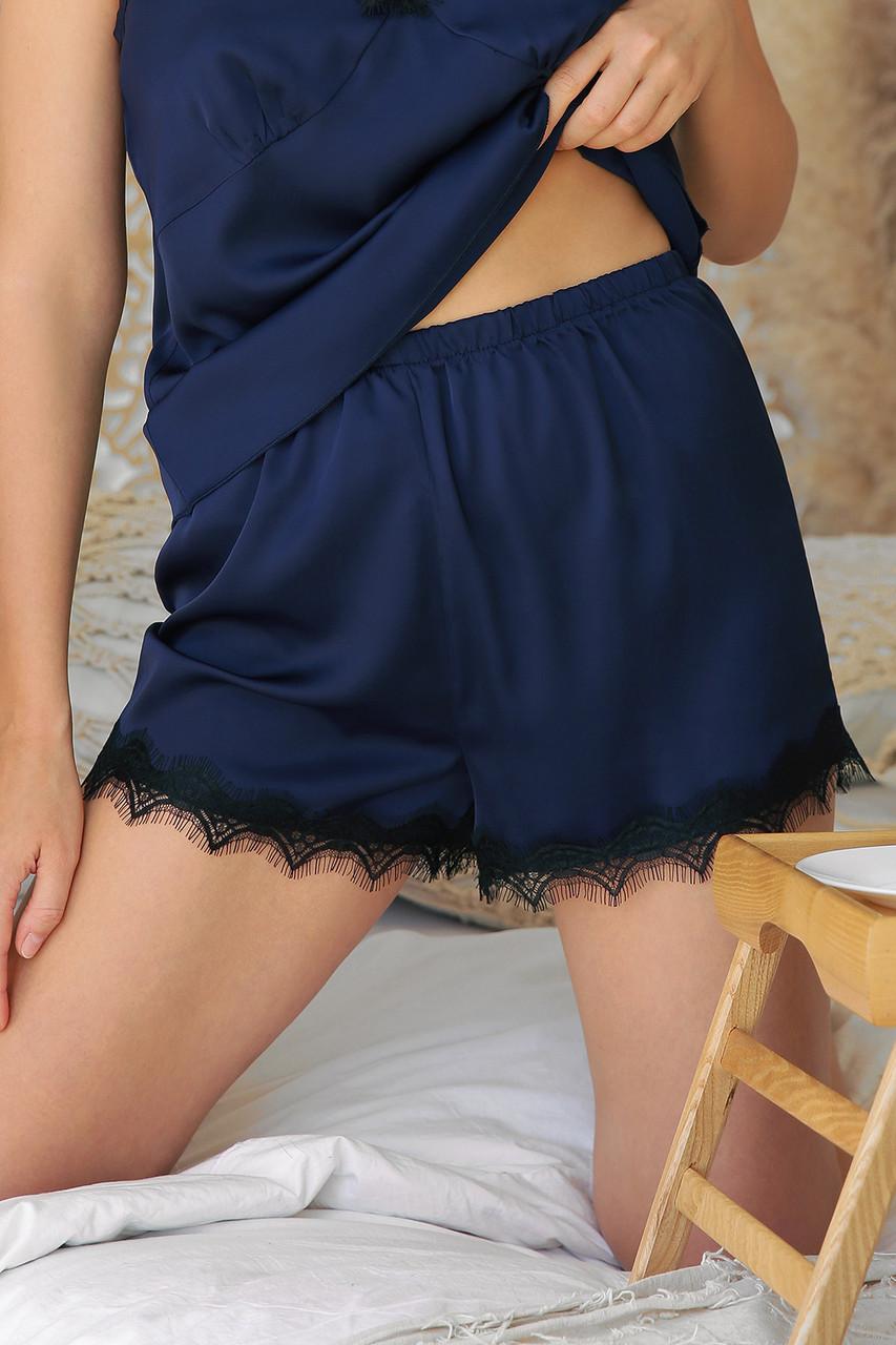 Женские шорты с кружевом для дома синие Шайлин