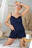 Женские шорты с кружевом для дома синие Шайлин, фото 3