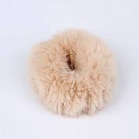 Гумка для волосся хутряна пухнаста (кремовий колір), фото 1
