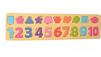 """Деревянная игрушка рамка-вкладыш для детей """"Цифры-фигуры"""""""