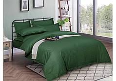 Постельное белье страйп сатин Темно зеленый, семейный комплект