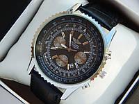 Мужские кварцевые наручные часы Breitling на кожаном ремешке, фото 1