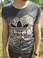 Серая мужская спортивная футболка ADIDAS реплика с логотипом спереди серая мужская футболка Адидас S размер
