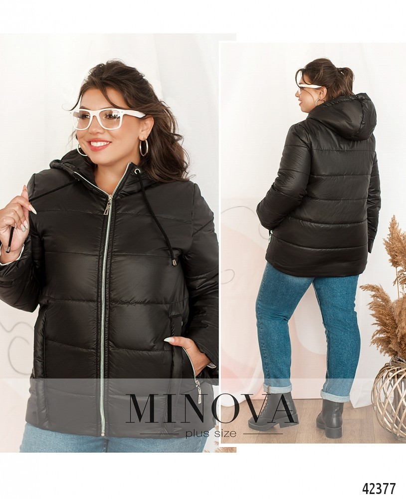 Женская куртка большого размера  №17-236-чёрный 50-52,54-56,