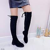 Женские черные ДЕМИ / осень сапоги- ботфорты эко- замш, фото 3
