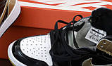 Женские кроссовки в стиле Nike Air Jordan 1 Retro (black/khaki), Найк Аир Джордан 1 ретро (Реплика ААА), фото 5