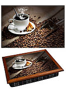 Поднос на подушке BST 040317 44*36 коричневый утренний аромат, фото 1