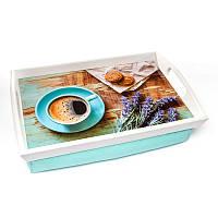 Поднос на подушке с ручками BST 710043 48*33 бело-голубой Печеньки, фото 1