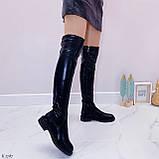 Женские черные ДЕМИ / осень сапоги- ботфорты эко- кожа, фото 4